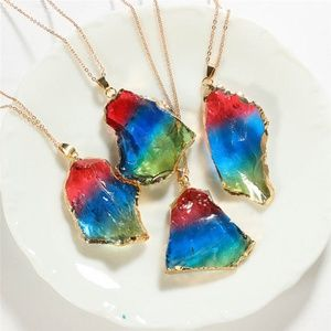Jewelry - Rainbow Gold Dipped Raw Stone Rock Necklace
